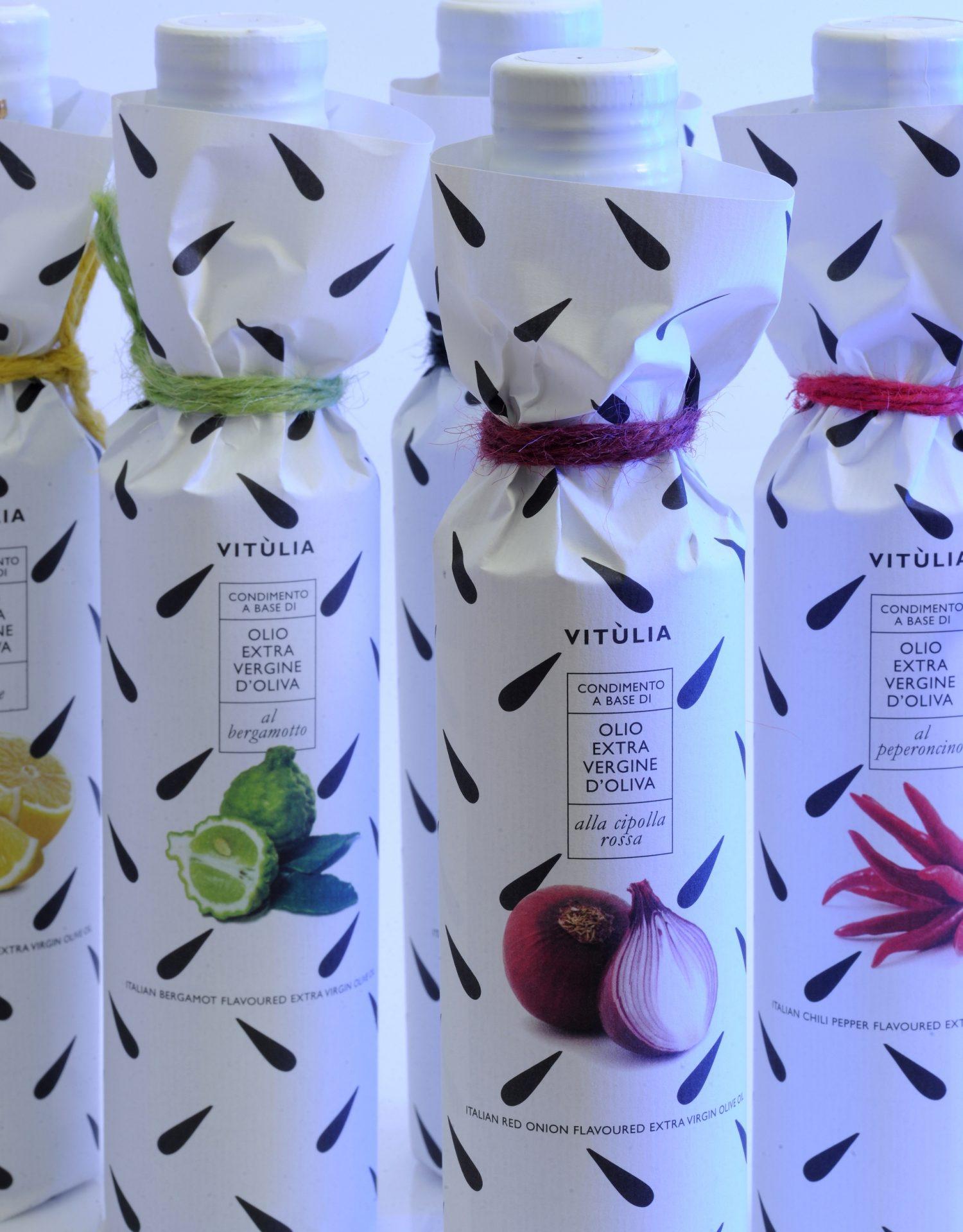 collezione di 3 oli extravergini aromatizzati vitùlia. bergamotto, cipolla e peperoncino