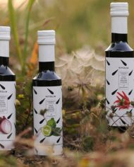 flavoured  extravirgin olive oils. collection 3 bottles-onion-calabrian -bergamot-peppers